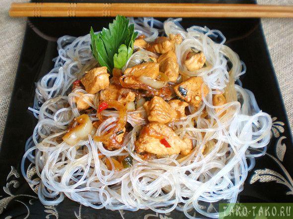 Рисовая «стеклянная» лапша с курицей и овощами — пошаговый рецепт японского блюда с фото и описанием каждого этапа приготовления. Лучший рецепт японской лапши с курицей.