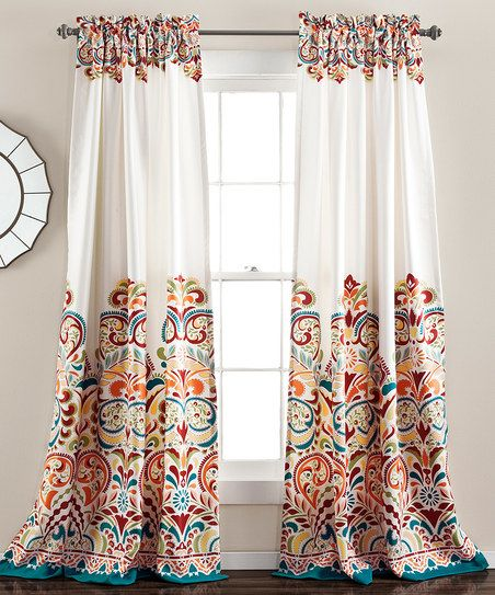 Turquoise Amp Tangerine Clara Curtain Panel Set Of Two