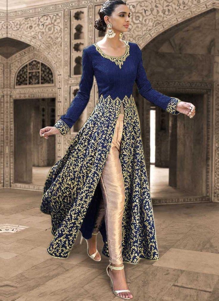 Navy Blue Sequins Work Stone Work Bhagalpuri Silk Festival Anarkali Salwar Suit