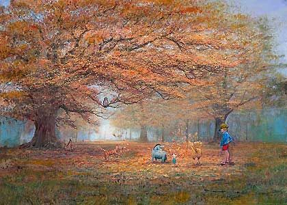 Winnie the Pooh - The Joy of Autumn Leaves - Harrison Ellenshaw - World-Wide-Art.com - $850.00 #Disney #Ellenshaw