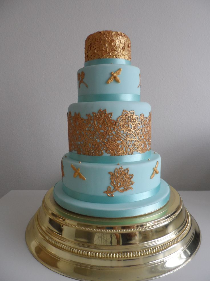 Duck Egg and Gold lace wedding cake