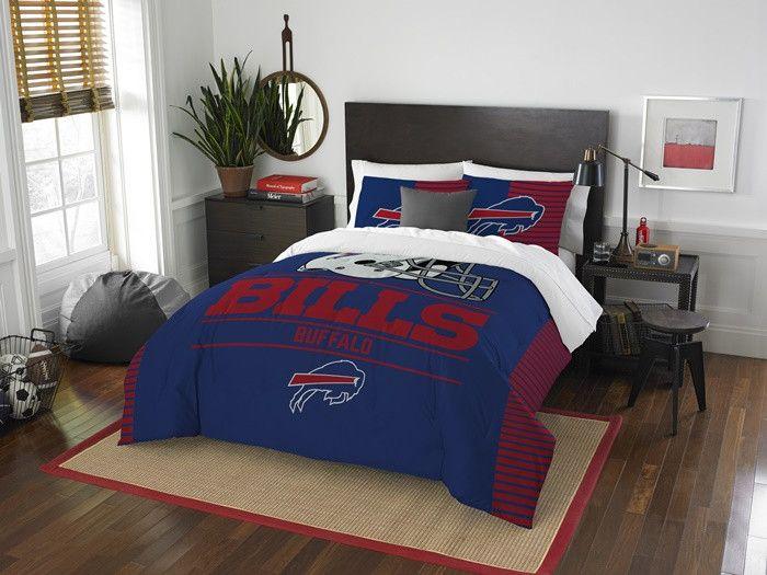 Buffalo Bills NFL Draft Full-Queen Comforter Set. Includes full-queen comforter and 2 shams. Visit SportsFansPlus.com for Details.