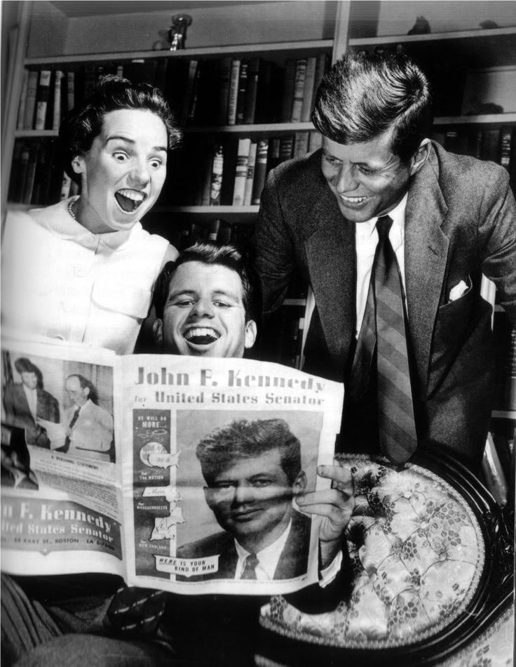 Ethel, husband Bobby and brother-in-law John Kennedy found something that couldn't pass without a good laugh.  Wonder what it was?!