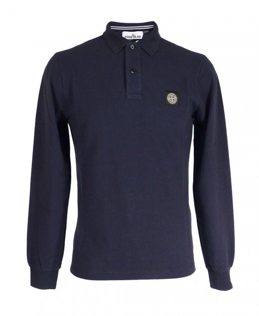 Stone Island Blue Long Sleeve Slim Fit Polo Shirt Stone Island Polo Blue Two button placket Black and white square logo at chest 100% Cotton Machine washable £95
