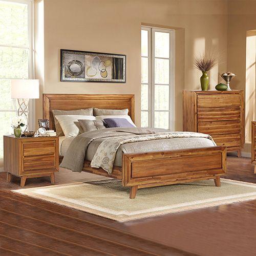 York Queen Euro Walnut Bedroom Suite