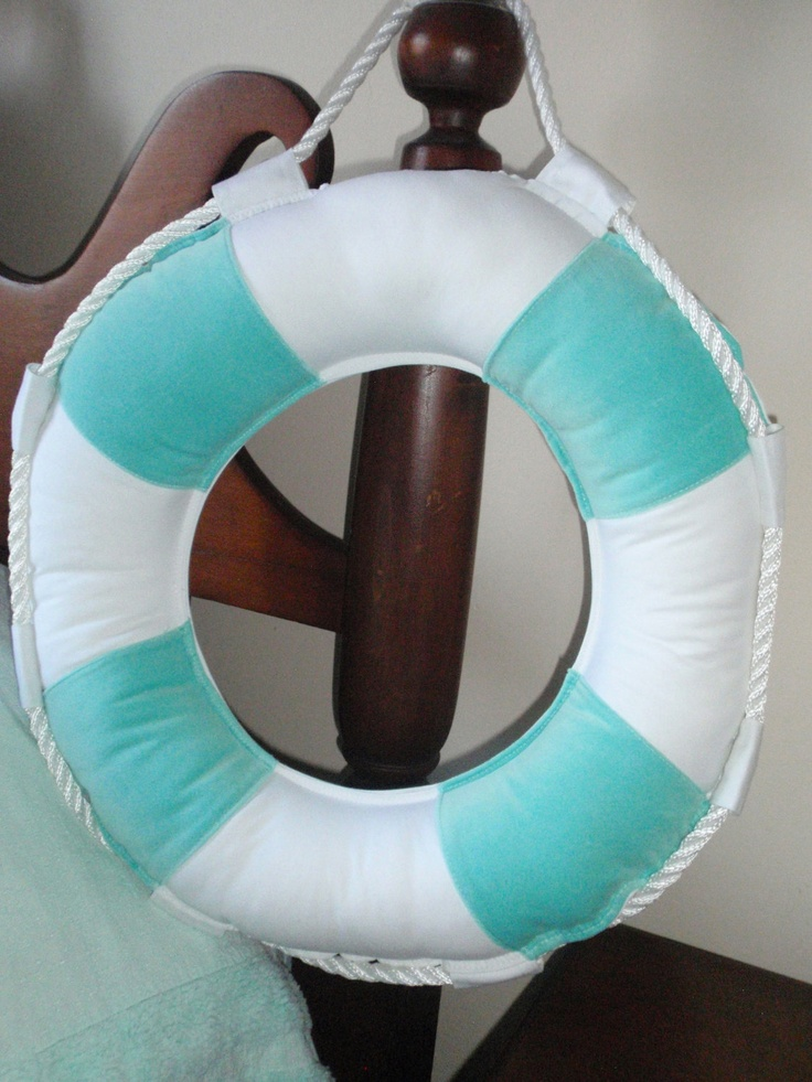 Life Ring Turquoise and White Pillow Nautical Home Decor by searchnrescue2. $50.00, via Etsy.