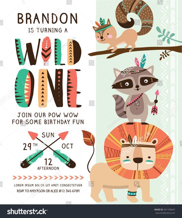Kids birthday party invitation card with cartoon tribal animals