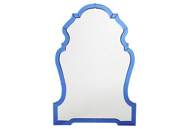 """Grace 37"""" Wall Mirror, Blue"""