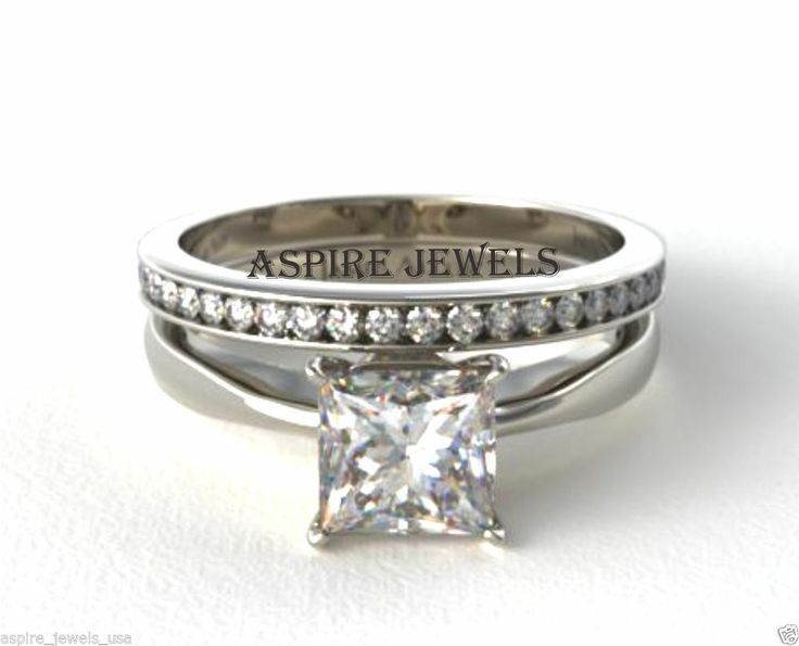 1 80ct Princess Cut Engagement Ring Wedding Band 14k Solid White Gold Fine Edh