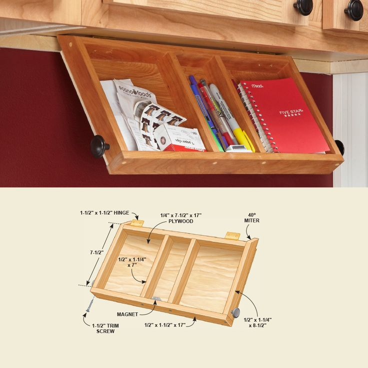 This tray is perfect for pens and paper. When closed, it's mostly hidden by the cabinet face frame. Hinges and magnets hold this tray in place under an upper cabinet. To install the tray, screw on the hinges first. Then open the cabinet door above and clamp the tray to the underside of the cabinet while you screw the hinges to the cabinet. Need a more robust command center? Here's how to build a message center in your kitchen instead.