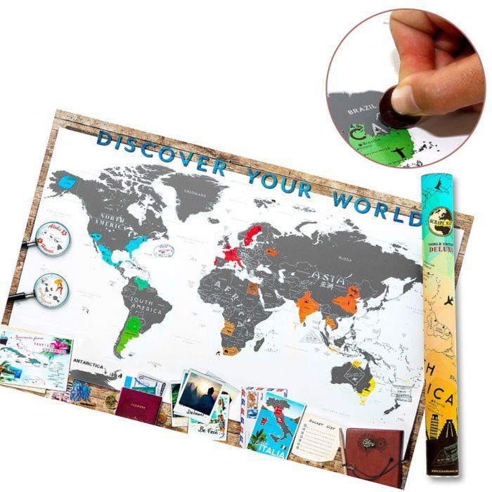 Die Scrape Map Deluxe ist eine originelle Geschenkidee für alle Globetrotter zum Rubbeln und eine ganz persönliche Weltkarte!