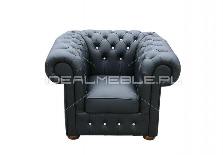fotel Chesterfield, styl angielski, armchair, głęboko pikowany, skóra, skin, czarny, black, z kryształkami Swarovskiego, comfortable, wygodny  1916526_fotel_classic_z_krysztalkami.jpg (863×600)