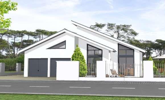 Bungalow 162 moderner bungalow mit pultdach und for Flachdachhaus mit doppelgarage
