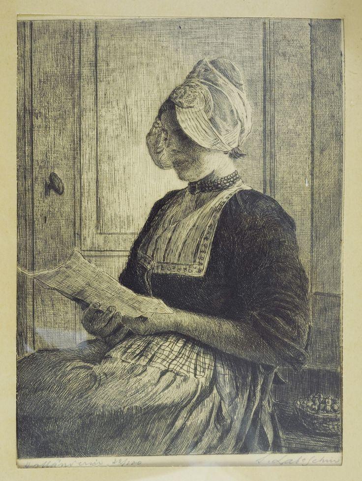 """""""Holenderka"""" – akwaforta autorstwa Siegfrieda Laboschina (urodzonego w 1968 r. w Gnieźnie malarza, grafika, grawera) z przełomu XIX i XX stulecia. Grafika ukazuje młodą kobietę w stroju """"holenderskim"""", w nieokreślonym, raczej domowym pomieszczeniu, gdzie przysiadła (w przerwie między obowiązkami?), by w skupieniu, za przymkniętymi drzwiami, przeczytać list. Jego treści możemy się jedynie domyślać."""