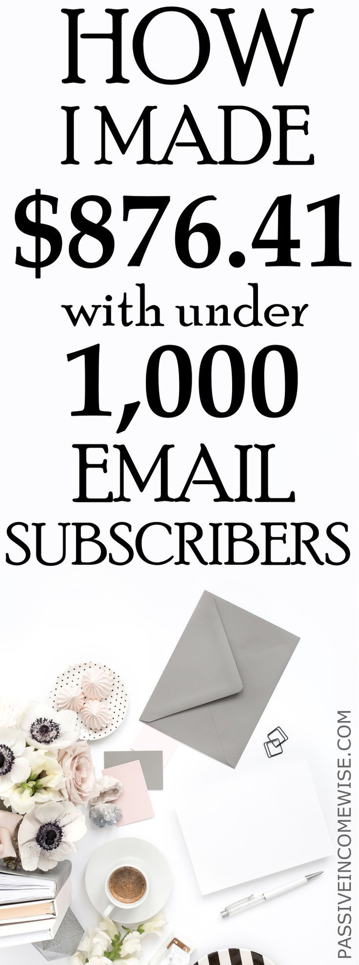 I just made $876.40 in the last 30 days from my email list! Plus, my email list grew in 271 new subscribers! Make money with email marketing, how to create an email list, get email subscribers, email marketing software, convertkit