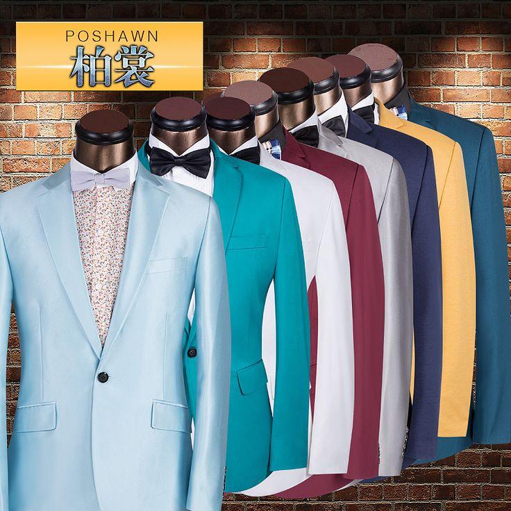 Мужской костюм мужской multicolour тонкий костюм верхняя одежда вечернее платье мужской пиджак