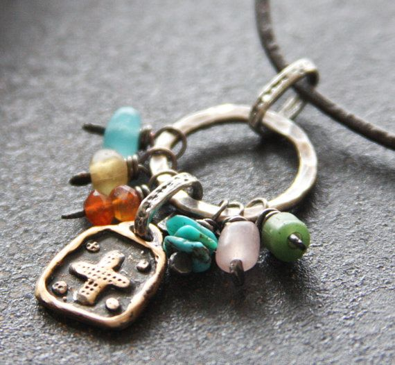 Fine Silver,  Rustic Bronze Cross, Turquoise, Carnelian, Glass and Leather Necklace Relm Orighinals/Etsy