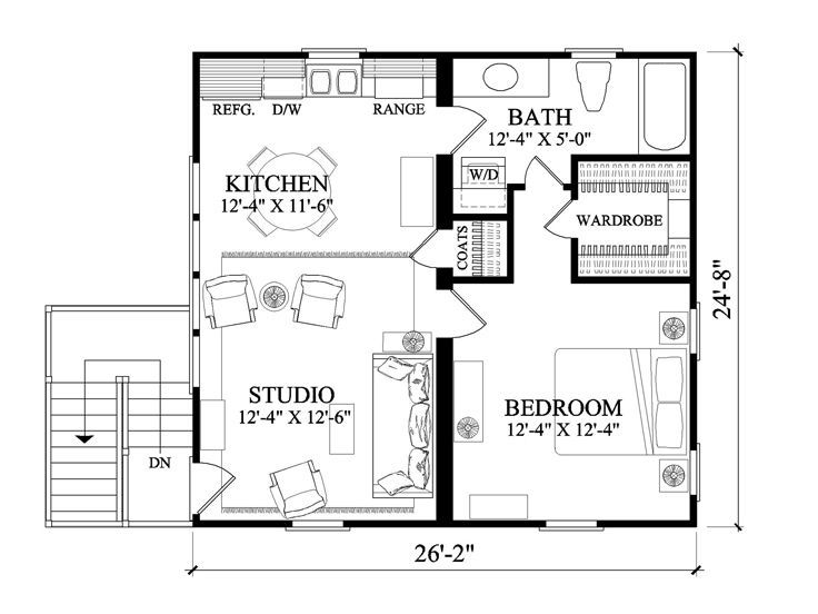 2nd floor plan 063g 0001 646 sq fr 1 bed apt 39 s above Free garage plans with apartment above