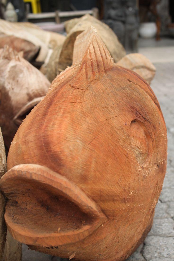 Wooden carved fish,Katy's at Marlboro,February 2014