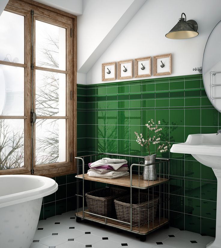 The best metro wall tiles. Beautiful bottle green tiles from bathroom design and walls.