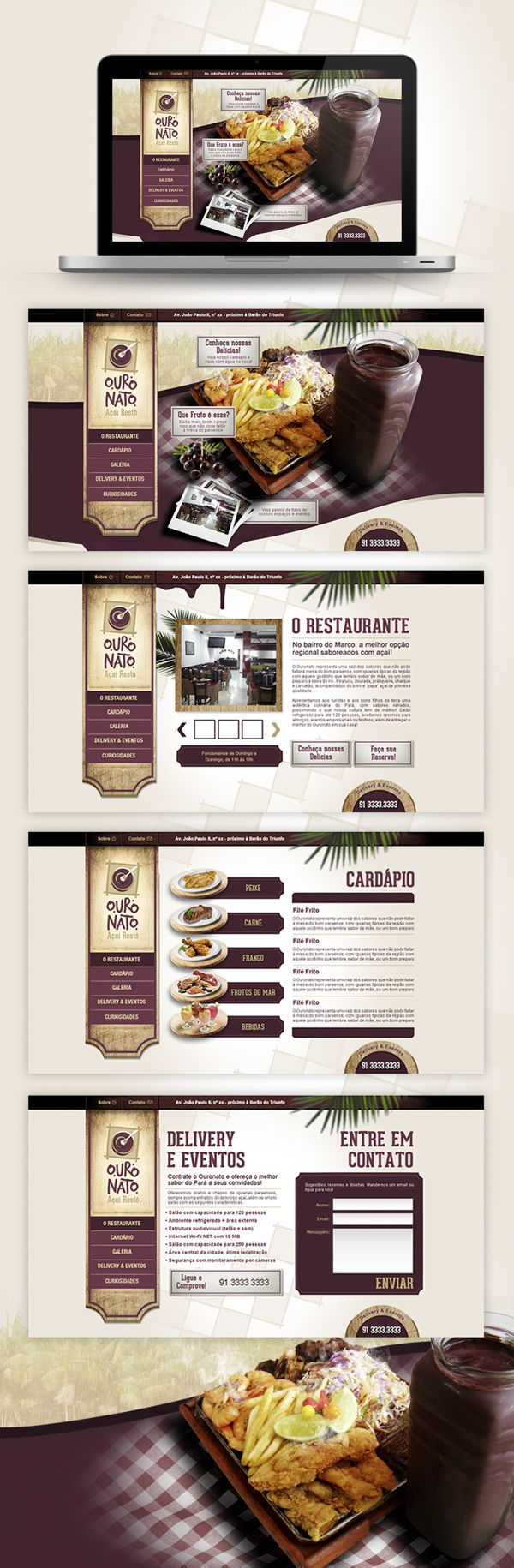 Site Restaurante Ouronato by Robson Bandeira, via Behance