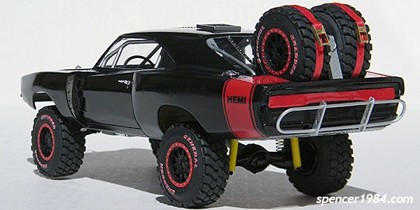 What started out as a Revell '68 Charger was kit bashed and turned into an off road machine.  This is one neat plastic model kit build @ http://www.hobbylinc.com/revell-monogram-1968-dodge-charger-2n1-plastic-model-car-kit-1:25-scale-854202