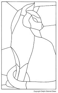 simple stained glass patterns printable | Free Siamese Cat Pattern - Window Panels - Delphi Glass