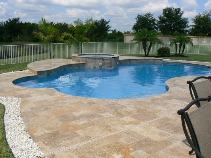 Outlining Pool With Different Colored Rock Outdoor