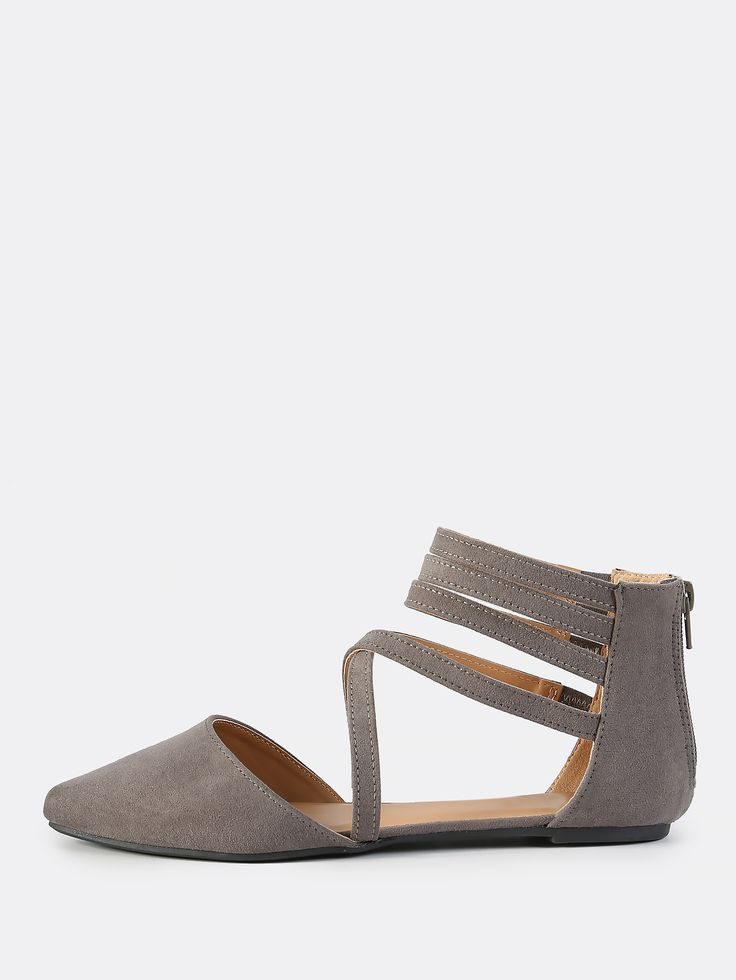 Online shopping for Cross Multi Strap Closed Toe Flats GREY from a great selection of women's fashion clothing & more at MakeMeChic.COM.