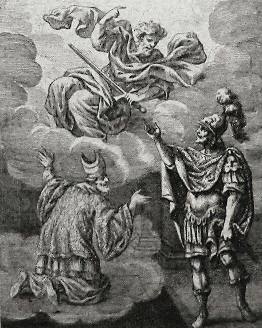 Apocrypha 198. An apparition. 2 Maccabees cap 15 vv 12-16. Sandrart. Phillip Medhurst Collection