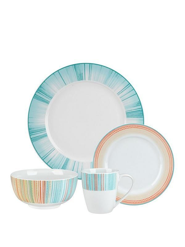 Portmeirion Studio Coral Stripe 12-piece Dinner Set This 12-piece dining set from the Coral Stripe range by Portmeirion Studio has been specially designed to make it perfect for every day use. Contains 4 of each:- Side Plates- Dinner Plates- Bowls Bright and bold in a range of vibrant colour schemes, each piece flaunts a different pattern. The dinner plates are covered in bright blues, the side plates are full of oranges, yellows and hints of green, and the bowls combine the two. Beautifully…