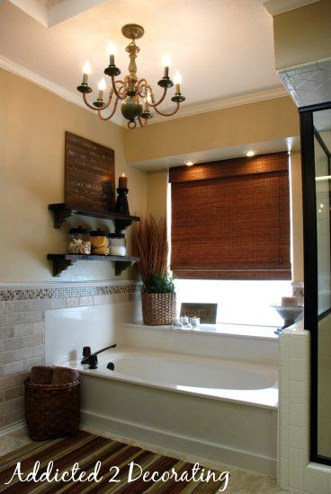 bathroo,: Decor Ideas, Bathroom Makeovers, Bamboo Shades, Masterbath, Beautiful Bathroom, Bathroom Ideas, Bathroom Decor, Bathroom Shelves, Master Bathroom