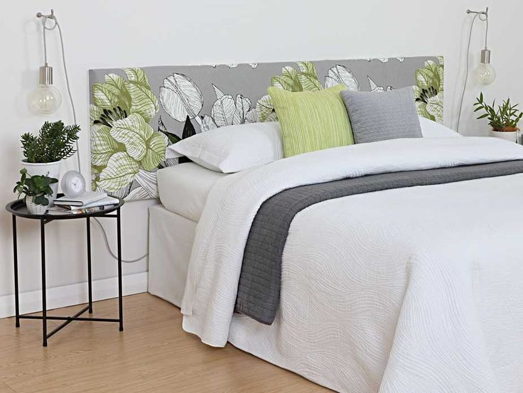 Jardin Green Fabric used on our DIY CoverQuick headboard to create this serene bedroom. Exclusive in NZ to Harvey Furnishings.