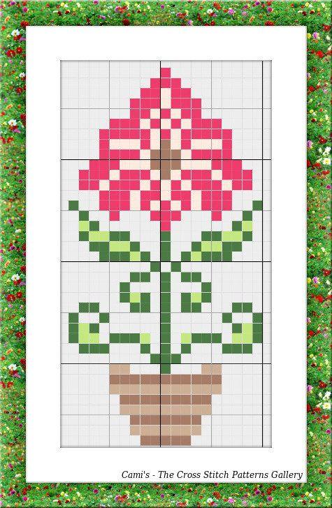 Mini Cross Stitch floral pattern Cross by CamisTheCrossStitch