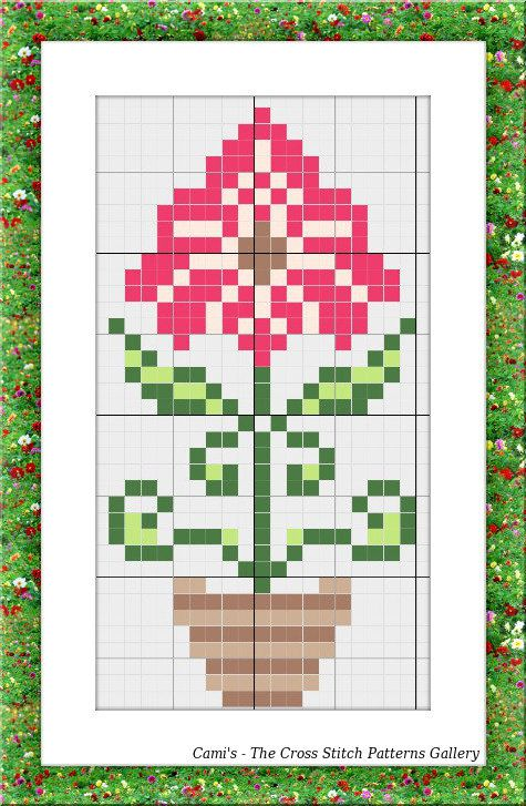 Mini Cross Stitch floral pattern Cross by CamisTheCrossStitch