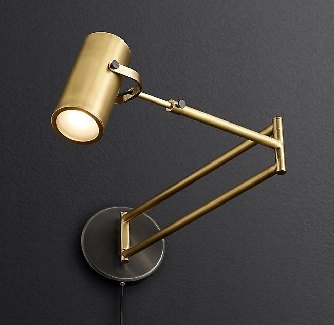 Champeaux Swing Arm Sconce Lamp Brass Wall Light Wall Lamp
