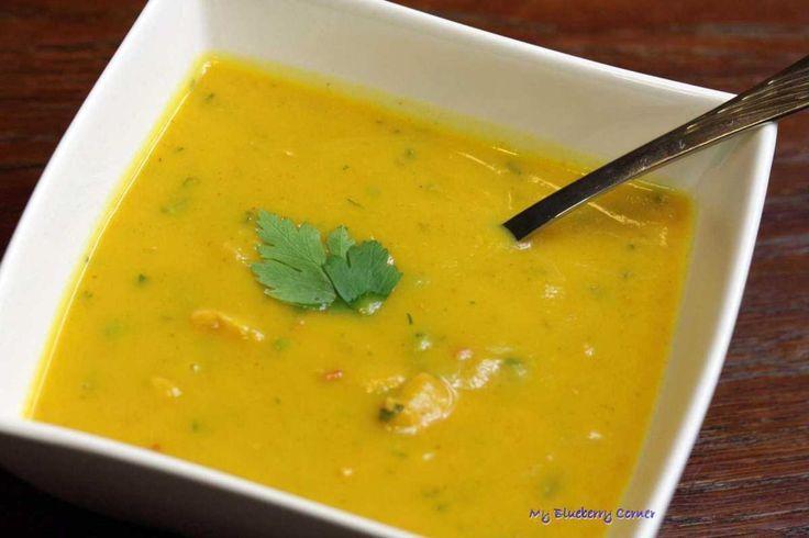 Zupa krem z dyni z pikantnym kurczakiem - My Blueberry Corner