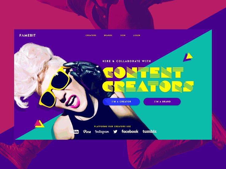 Here are a couple of fresh cuts from the Famebit redesign that I worked on a few months ago. The site will go live soon.   We took an over-the-top 80s approach to the design direction with some lou...