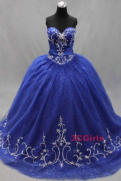 Vintage prom dress, ball gown, beautiful blue organza dress for prom 2017