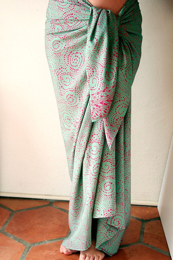 Sage Green Sarong with Pink  Beach Sarong  Batik Pareos by PuaWear, $35.00