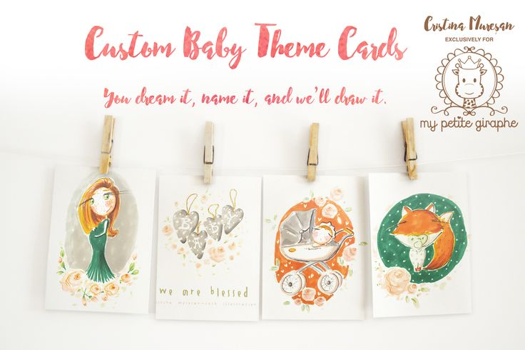 If you are looking for some custom BABY THEME CARDS, here's the place! Cute baby shower invitations, birthday cards, your child's name, favorite toy, clothes, shoes or cartoon character - all on a card, especially handmade for you. The beauty of memories lies in the little things. You dream it, name it, and we'll draw it. In collaboration with Cristina Mureșan-Toth -https://www.facebook.com/MyPetiteGiraphe #wedding #baby #babyshower #invitation  #cute #sweet #card #babycard #illustration