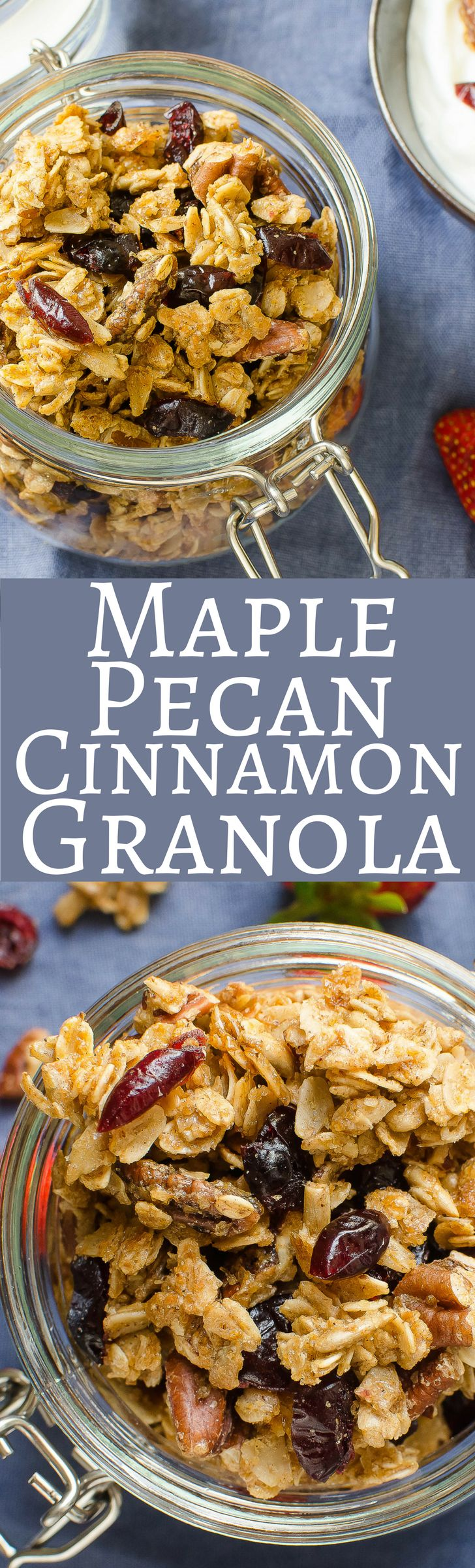 Homemade and easy to make Maple Pecan Cinnamon Granola with dried cranberries and sunflower seeds, this granola is the perfect topper for your morning yogurt or an afternoon snack!