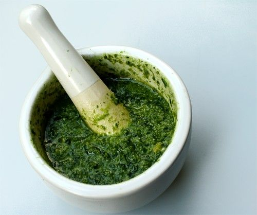 Save-the-Herbs Pesto:  A great use for the leftover herbs in the fridge. It combines two general types: the bulkier ones -- parsley, basil or cilantro -- and the more potent herbs such as rosemary, oregano, thyme, sage and mint. Use twice as much of the first kind (it's sometimes a good idea to buy a fresh bunch), a good olive oil, hard cheese and nuts. A splash of balsamic vinegar lends a piquant taste, and a roasted red pepper tempers any herbal blemishes and draw the flavors together.