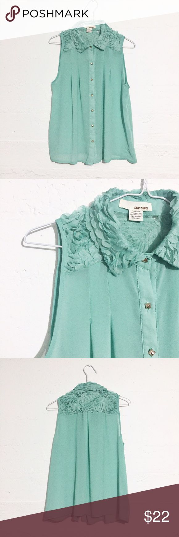 Sleeveless Collared Blouse Mint colored sleeveless collared top with rosette details along shoulders and collar. Sans Souci Tops Blouses