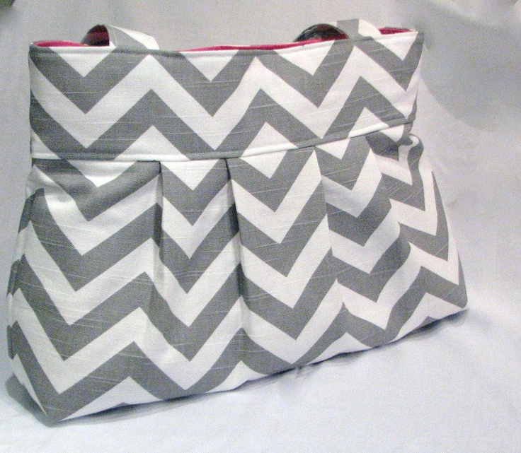 Pleated bag Medium Chevron Ash gray  by DoodlescootDesigns