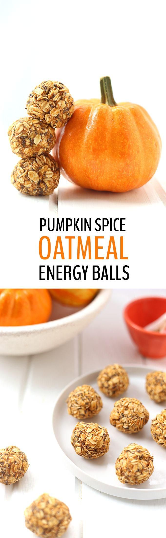 Your favorite seasonal latte just got a makeover! These Pumpkin Spice Oatmeal Energy Balls made with pureed pumpkin, oatmeal and pumpkin spice will keep you satisfied all season long.:
