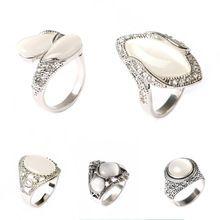 Lujo White Opal Vintage para mujer anillos anillos de plata tibetanos marca diseño compromiso aniversario anillo del campeonato del anillo de la amistad(China (Mainland))