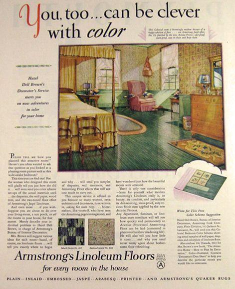 Vintage Linoleum Floor Original Vintage Magazine Print