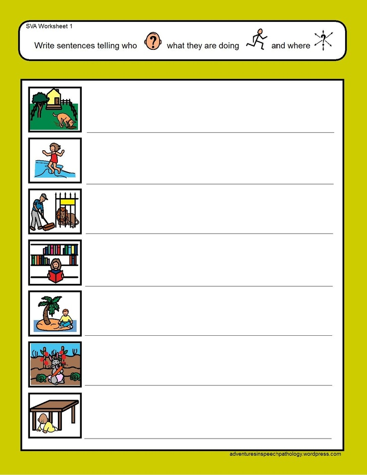 Who-Action-Where Worksheets-working on subject-verb with an extra element. From Adventures in Speech Pathology. Pinned by SOS Inc. Resources @so siu ki Inc. Resources.