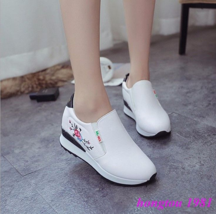 Stylish Womens Slip On Floral Wedges Heels Sneaker Loafers Creeper Shoes Flats